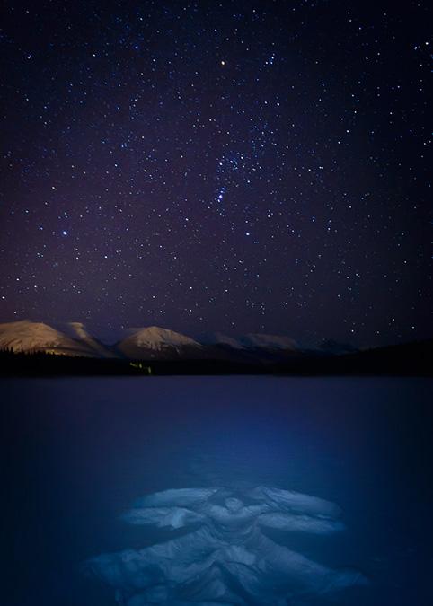 #ExploreAlberta: Snow Angel on Patricia Lake, in Jasper National Park.