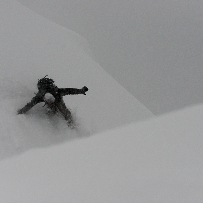 Dinosaurs Will Die owner Jeff Keenan drops into a big white line.