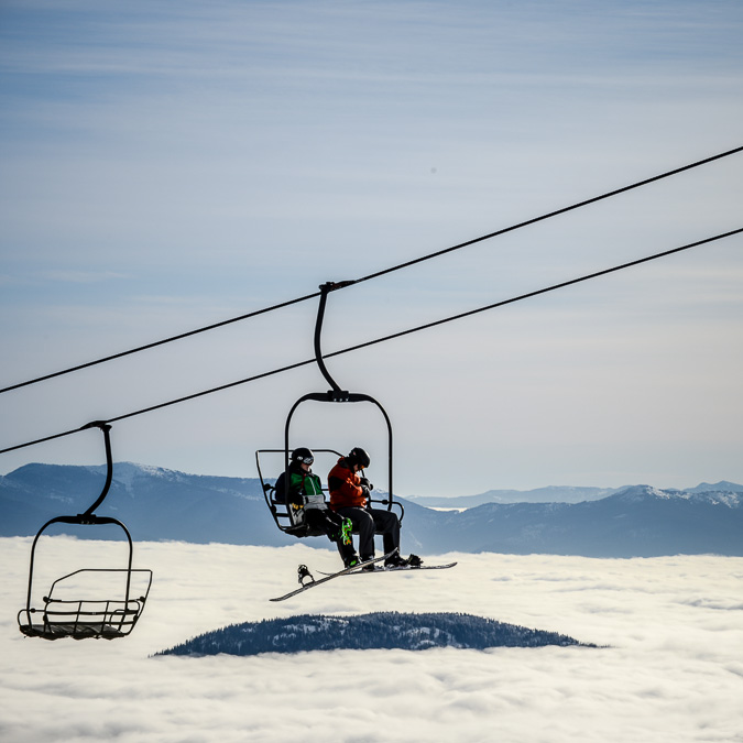 Our SkiBC trip ended at Red Mountain Resort, where the The Kootenay Sea, a think fog that lines the valley, is common.