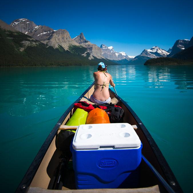 Travel Your Way: Paddle across Maligne Lake.