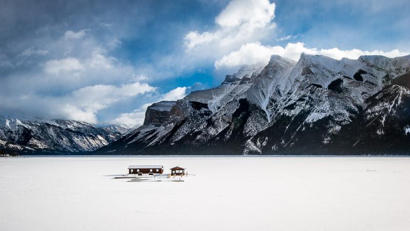 Winter in the Canadian Rockies: Lake Minnewanka near Banff, Alberta