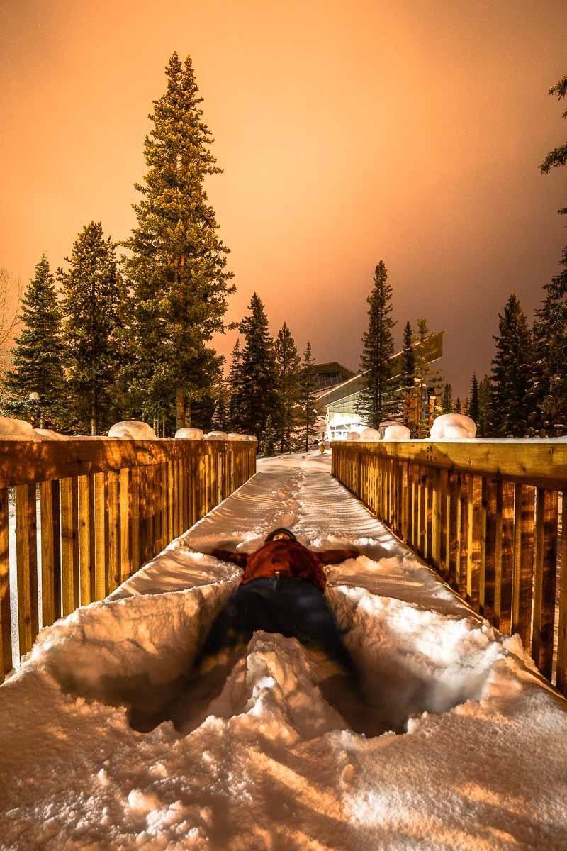 Snow Angels in Lake Louise, Alberta, Canada