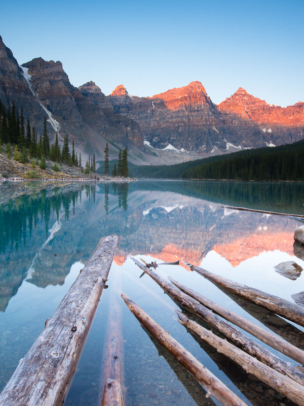 Just a hint of sunlight in the valley of the 10 peaks during a gorgeous Moraine Lake Sunrise