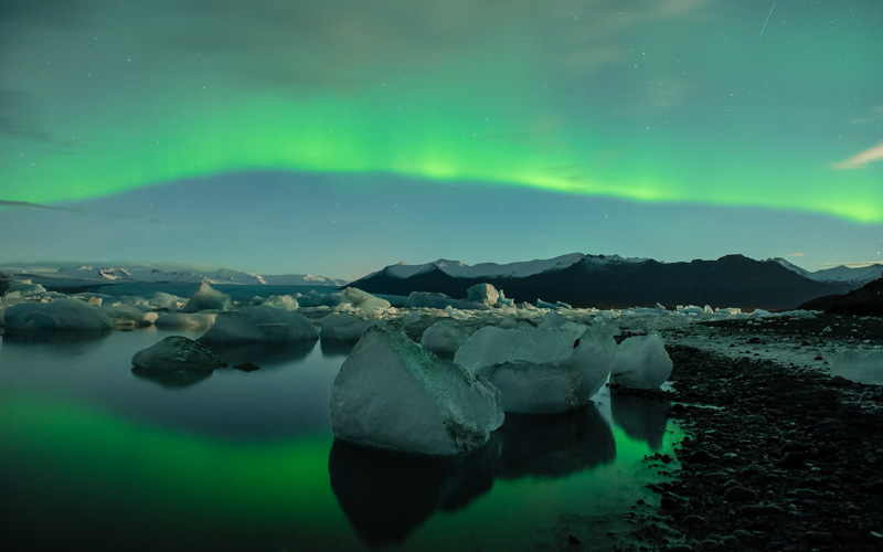Northern Lights above Jokulsalon in Iceland.