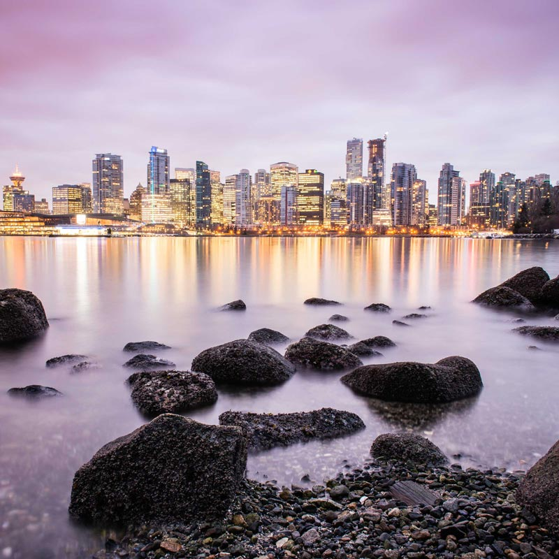 Photographing Vancouver from Stanley Park.
