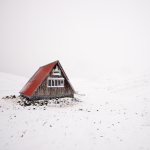 A mountain refuge on Iceland's snow-covered Snaefellsness Peninsula