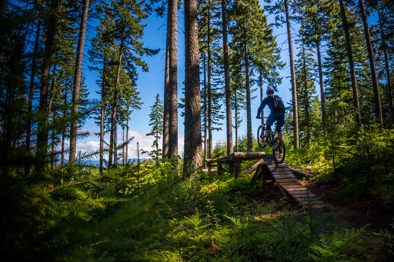 Theo Birkner finding a slice of the North Shore in Hood River, Oregon, during our 72-hour mountain bike adventure in Oregon