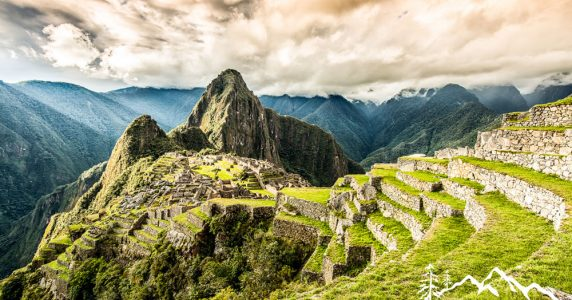 A landscape image of Machu Picchu mountain, the capitol of the Inka Empire near Aguas Calientes, Peru