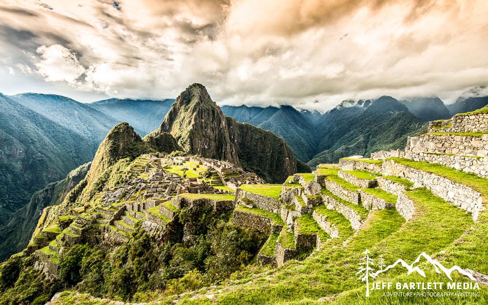 A landscape image of Machu Picchu mountain, the capitol of the Inka Empire near Aguas Calientes, Peru