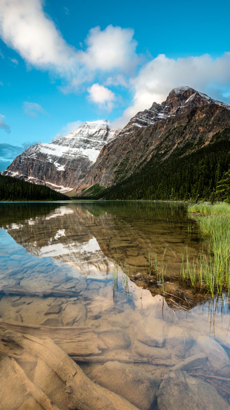 A vertical wideangle image of Edith Cavell Mountain in Jasper national park