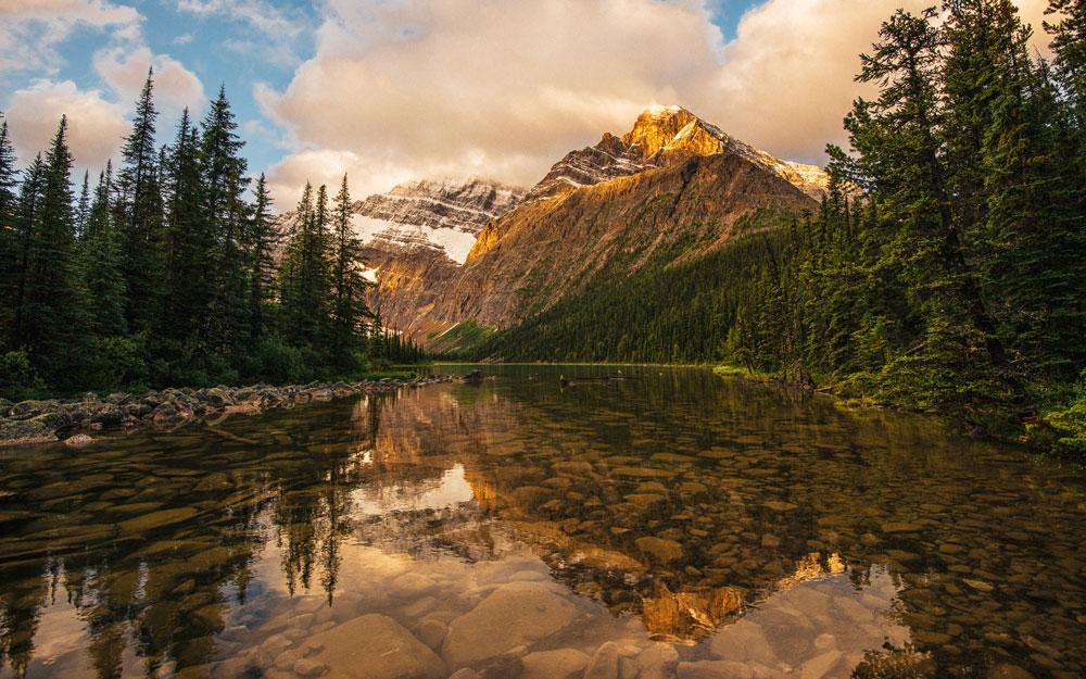 Sunrise above Edith Cavell in Jasper National Park