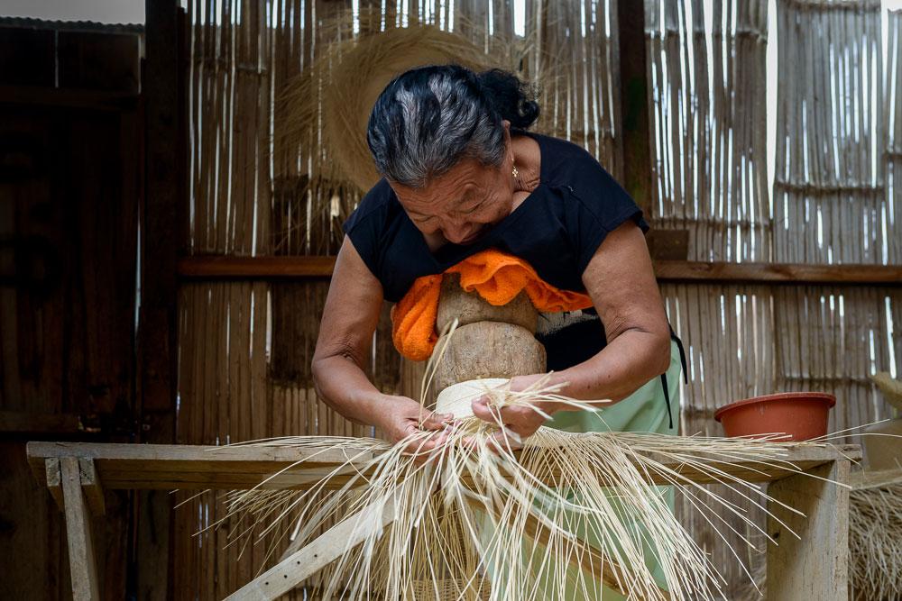 Basket weaving in Manta, Ecuador
