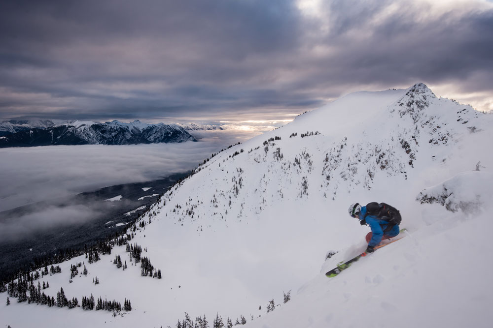 Descending Terminator 1 in the morning light on the uncrowded slopes of kicking horse mountain resort.