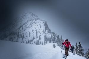 Katie Goldie ski tours into the backcountry.