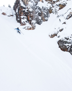 Dropping into our turns while backcountry skiing in golden.