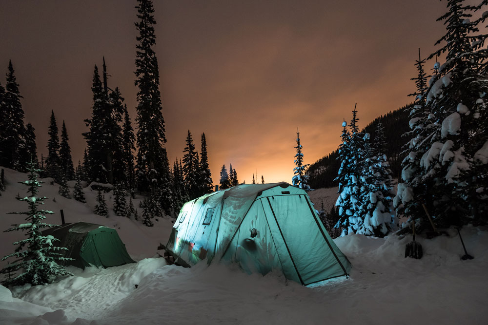 Outside the Adrenalin descents backcountry tent