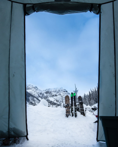 Our morning view from the backcountry tent setup.