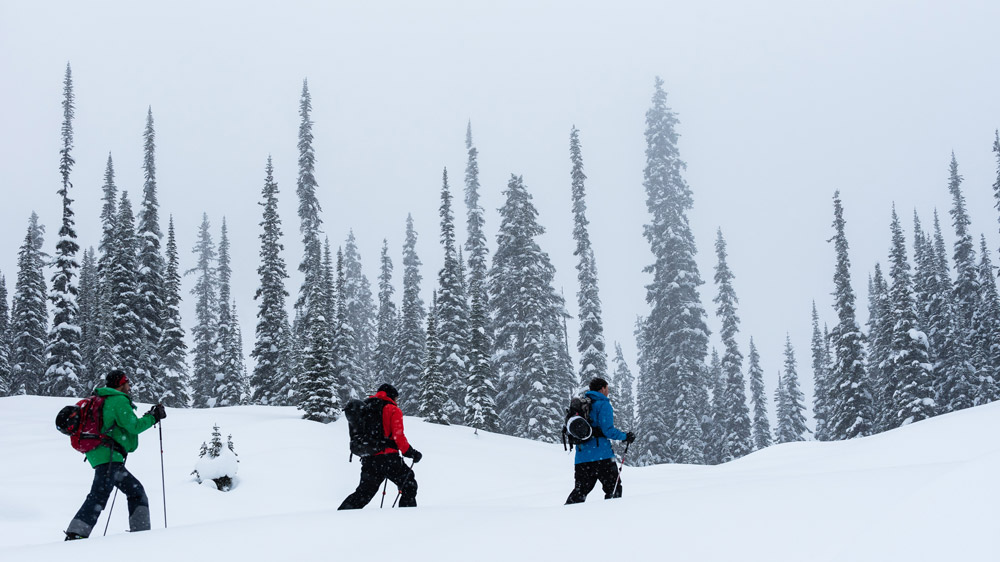 a group of skiers climbs towards a distant descent.