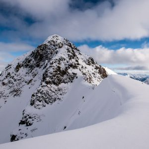 the top of Loafer, the biggest descent we skied that week.