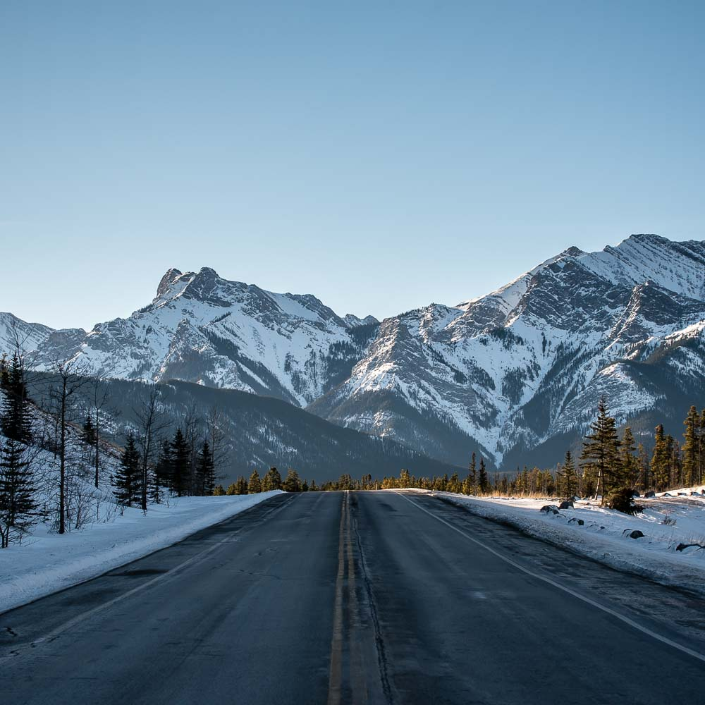 The Highwood Pass Highway, known as Route 40, heads towards the Canadian Rockies