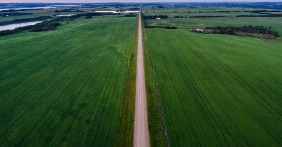 The Canadian Prairies stretch towards the far western horizon