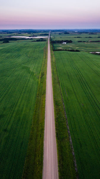 A thin gravel road stretches across the Alberta Prairies