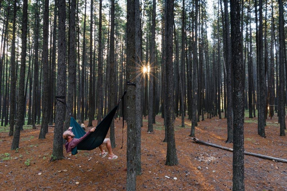 Brendan Van Son chilling in a hammock