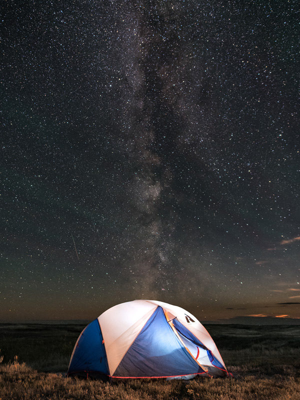The milky way rises above my tent in Grasslands National Park
