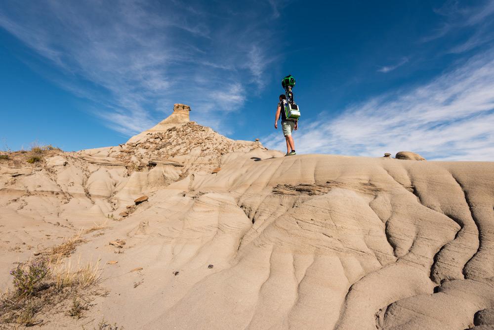 Brendan Van Son carries the Google Trekker in Alberta!