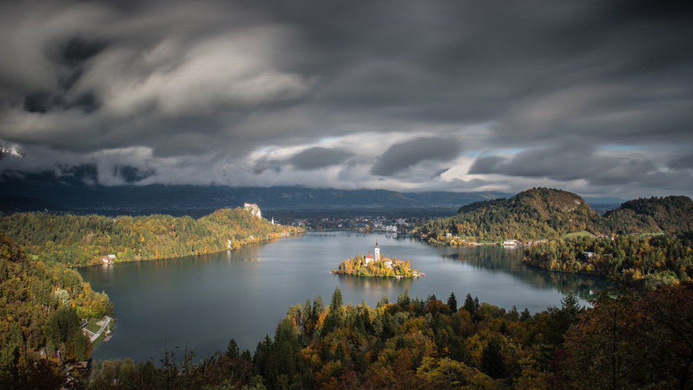 A panoramic view of Lake Bled from the Ojstrica viewpoint