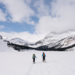 Crossing Bow Lake to begin the Little Yoho Traverse