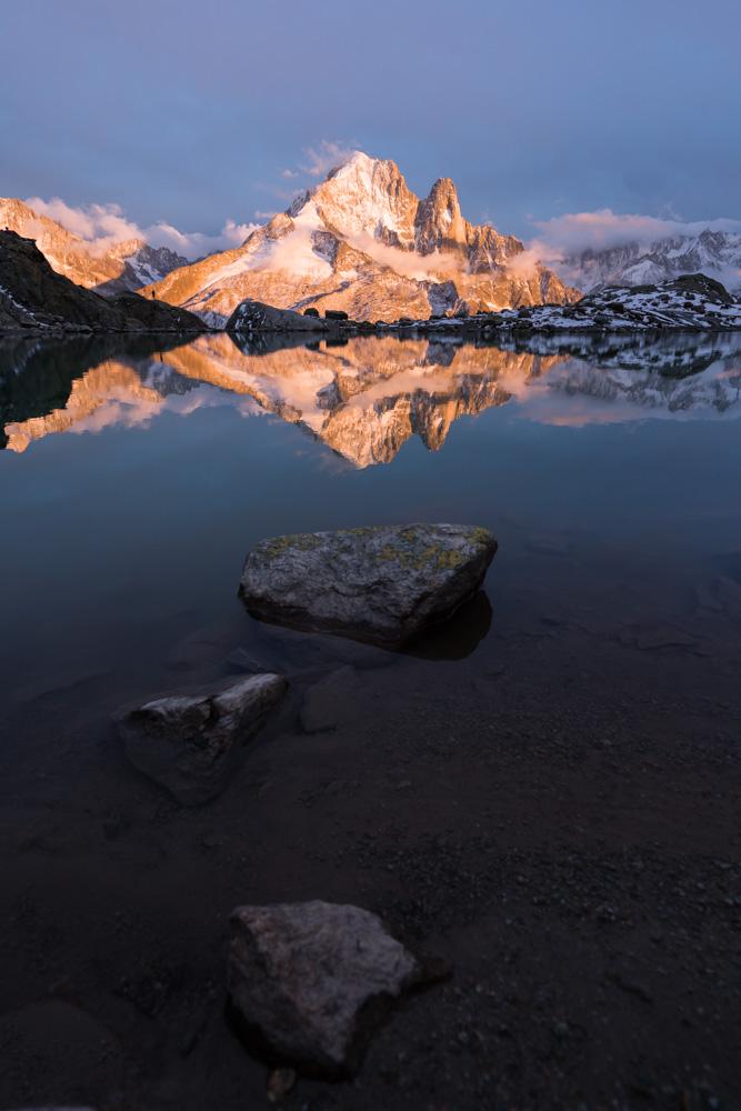 Sunset at Lac Blanc, near Chamonix, France