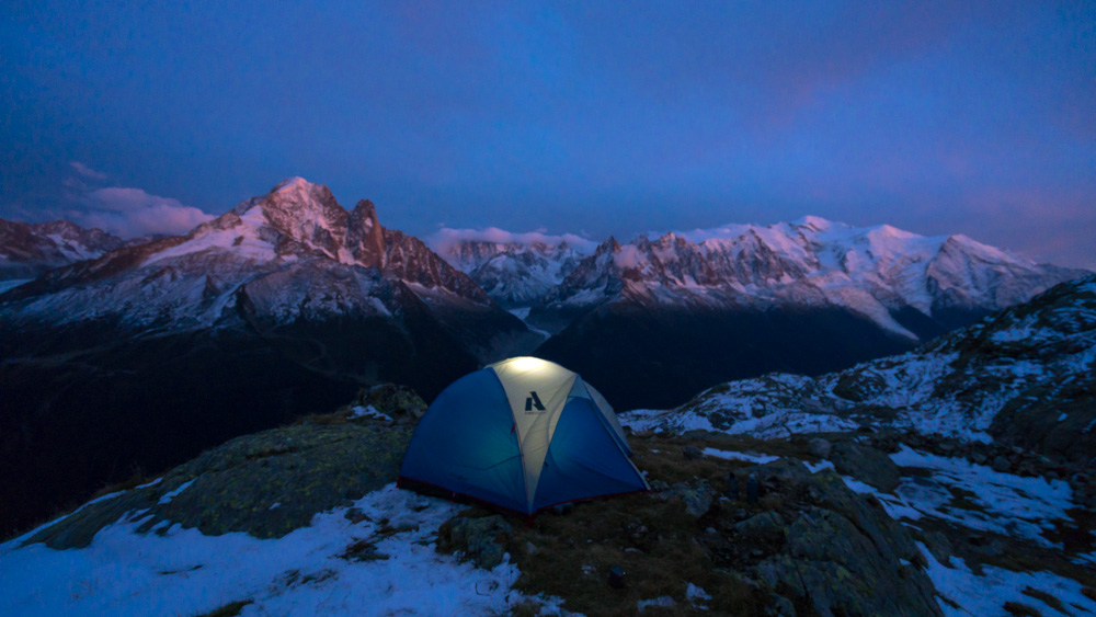 Wild camping above Lac Blanc in Chamonix, France