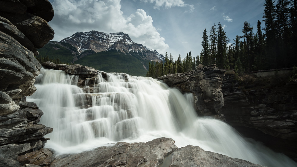1/2 second exposure proves perfect for Athabasca falls in Jasper National park
