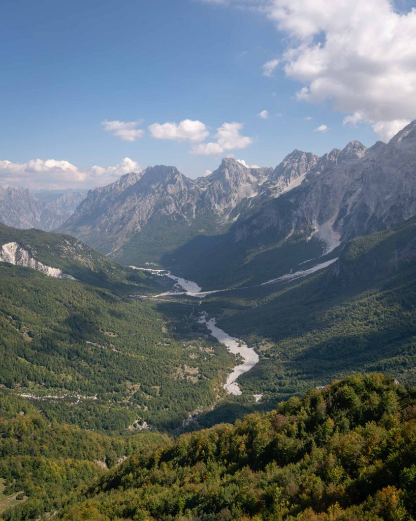 The valley into Valbona, Albania, shows the most dramatic mountains found along the entire UNDP White Trail