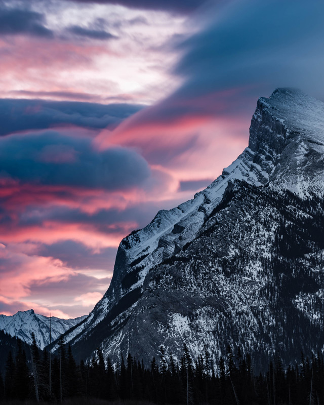 Sunrise colours - rich pinks and orange - illuminate the rugged western edge of Mt Rundle in Banff National Park, Alberta, Canada.