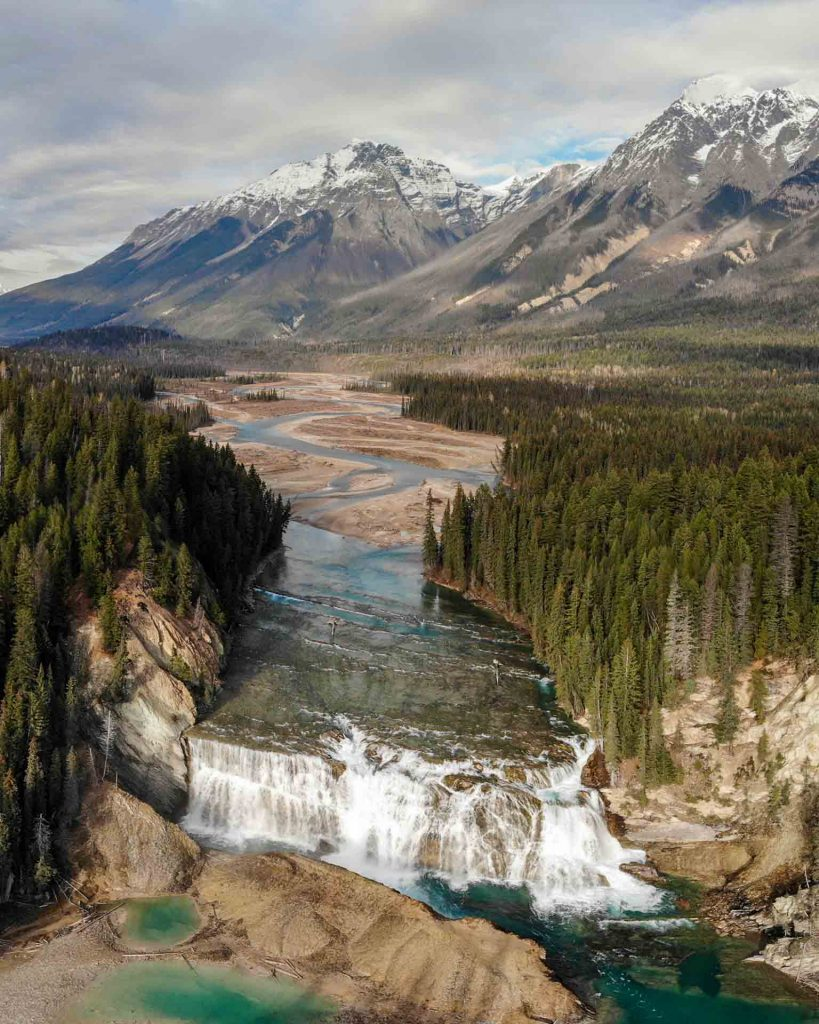 A rare Aerial perspective of Wapta Falls in Yoho National Park, British Columbia, Canada