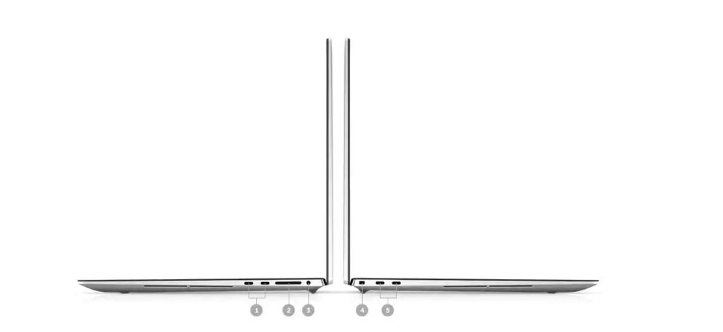 The Dell XPS17 9700 ports include thunderbolt and SD card readers.